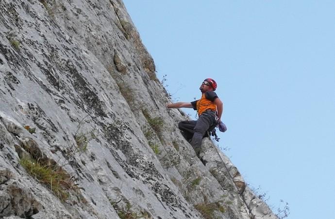 Climbing the cliff